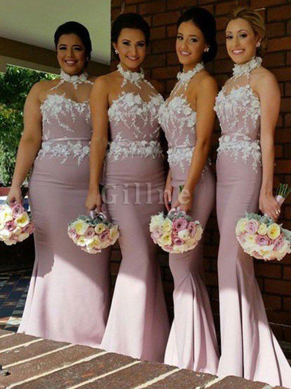 Halter Mermaid Floor Length Sleeveless Satin Bridesmaid Dress