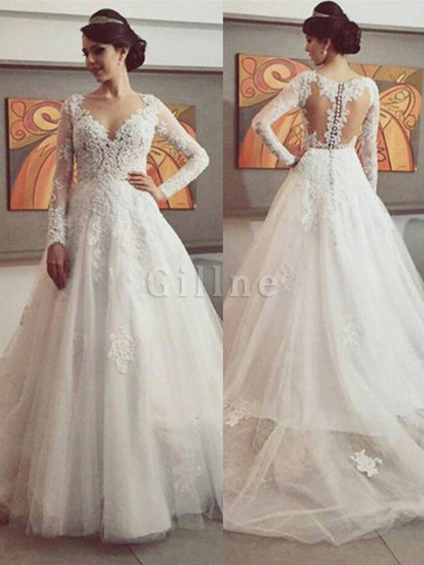 Lace Natural Waist V-Neck Ball Gown Tulle Wedding Dress