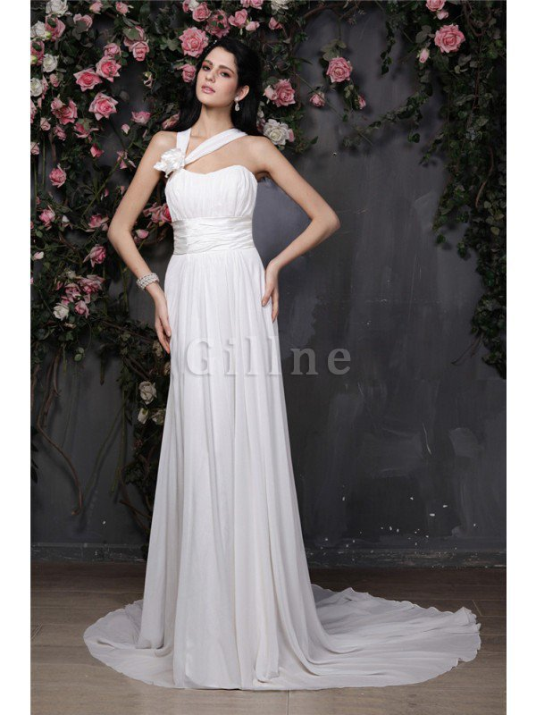 Empire Waist Sleeveless Chiffon Draped Wedding Dress