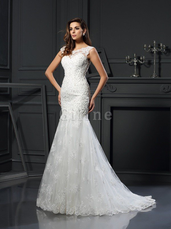 Appliques Tulle Scoop Long Empire Waist Wedding Dress