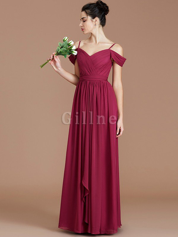 Chiffon Floor Length A-Line Ruched Bridesmaid Dress