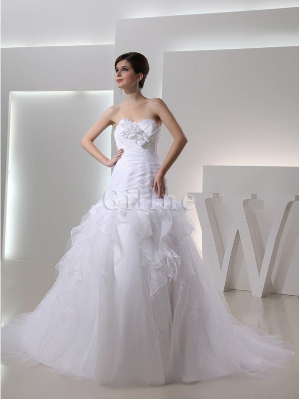 Mermaid Lace-up Flowers Organza Chapel Train Wedding Dress