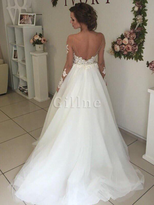 Organza Sweep Train Natural Waist Long Sleeves Off The Shoulder Wedding Dress