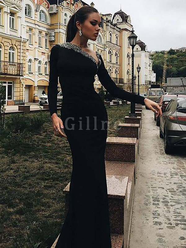 Satin Sweep Train Mermaid One Shoulder Long Sleeves Prom Dress