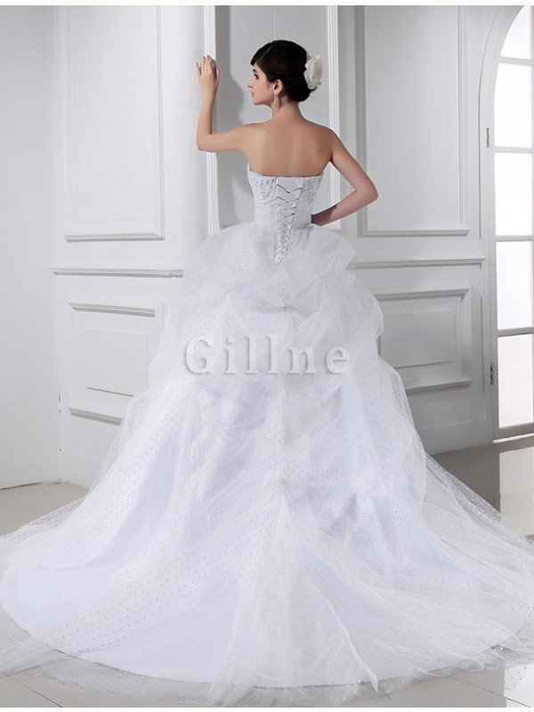 Chapel Train Sweetheart Ball Gown Satin Empire Waist Wedding Dress