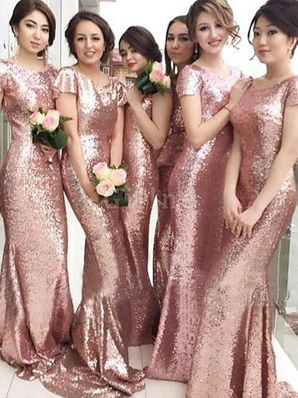 Short Sleeves Natural Waist Sheath Scoop Sequins Bridesmaid Dress