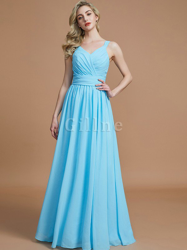 Sleeveless Natural Waist A-Line V-Neck Bridesmaid Dress