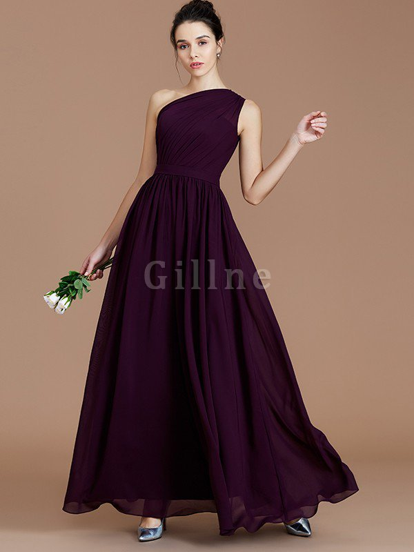 Floor Length Natural Waist Chiffon Ruched One Shoulder Bridesmaid Dress