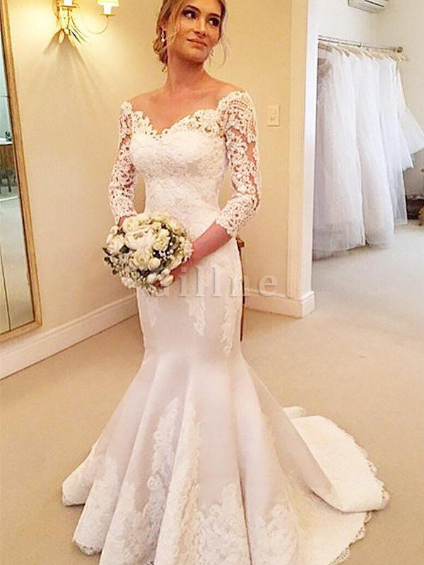 Off The Shoulder Satin 3/4 Length Sleeves Court Train Mermaid Wedding Dress