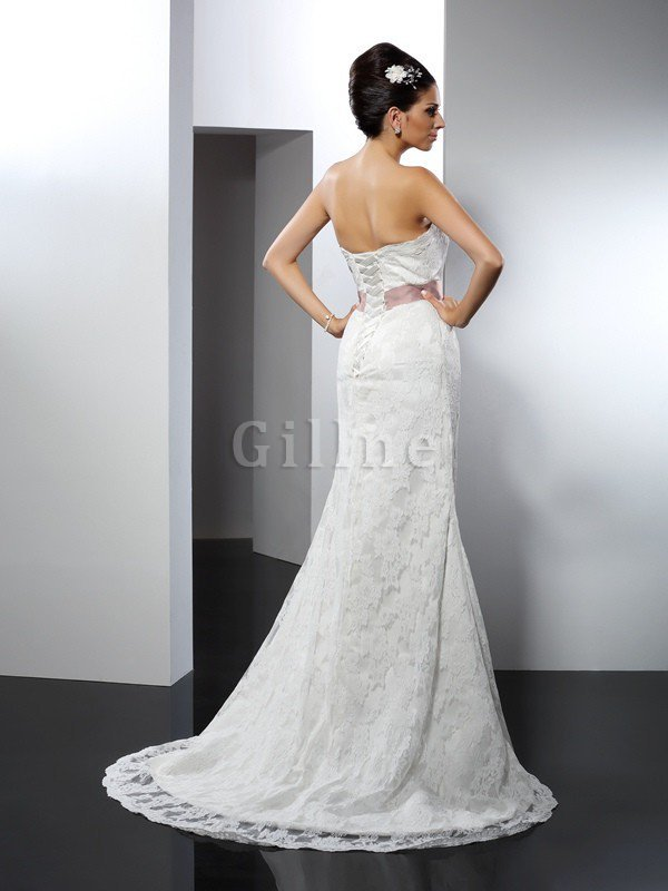 Strapless Chapel Train Mermaid Long Lace Wedding Dress
