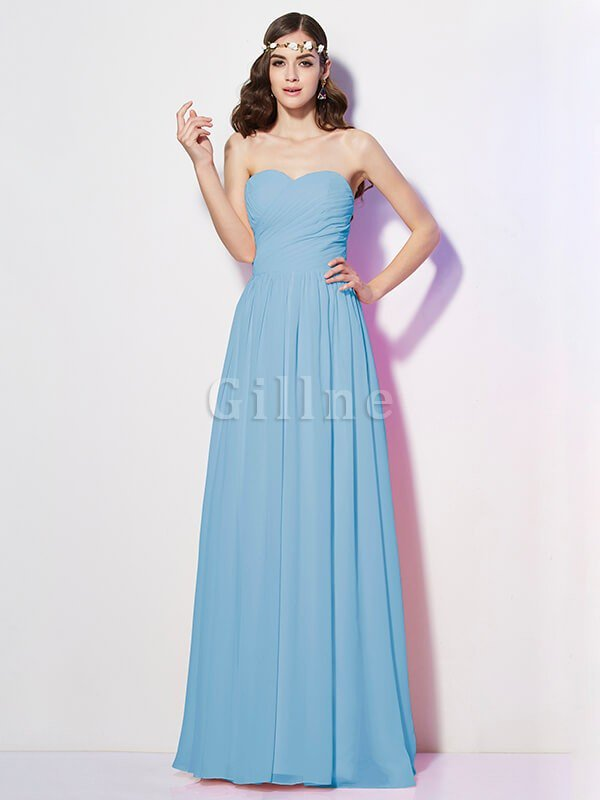 Pleated Zipper Up Empire Waist A-Line Bridesmaid Dress