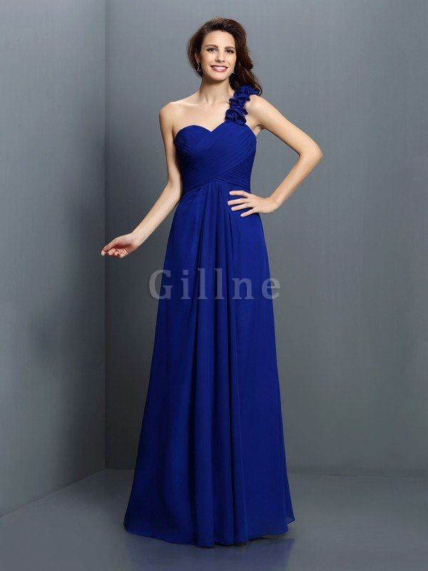 Zipper Up One Shoulder Chiffon A-Line Bridesmaid Dress