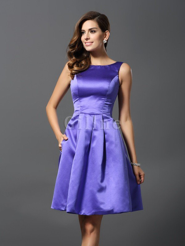 A-Line Knee Length Natural Waist Bridesmaid Dress