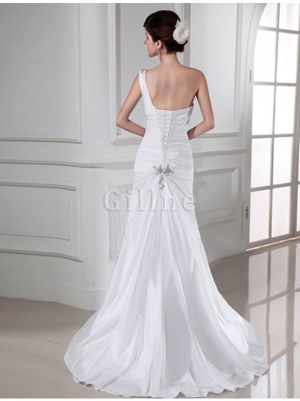Appliques Sleeveless One Shoulder Lace-up Sweep Train Wedding Dress