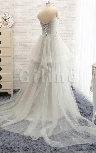 Sweetheart Ruffles A-Line Sexy Tulle Wedding Dress