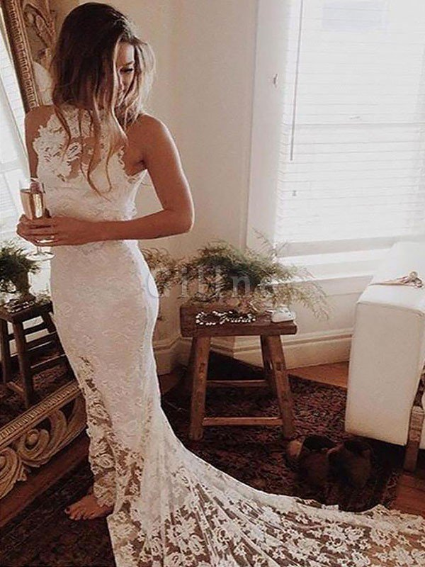 Halter Sleeveless Lace Natural Waist Chapel Train Wedding Dress