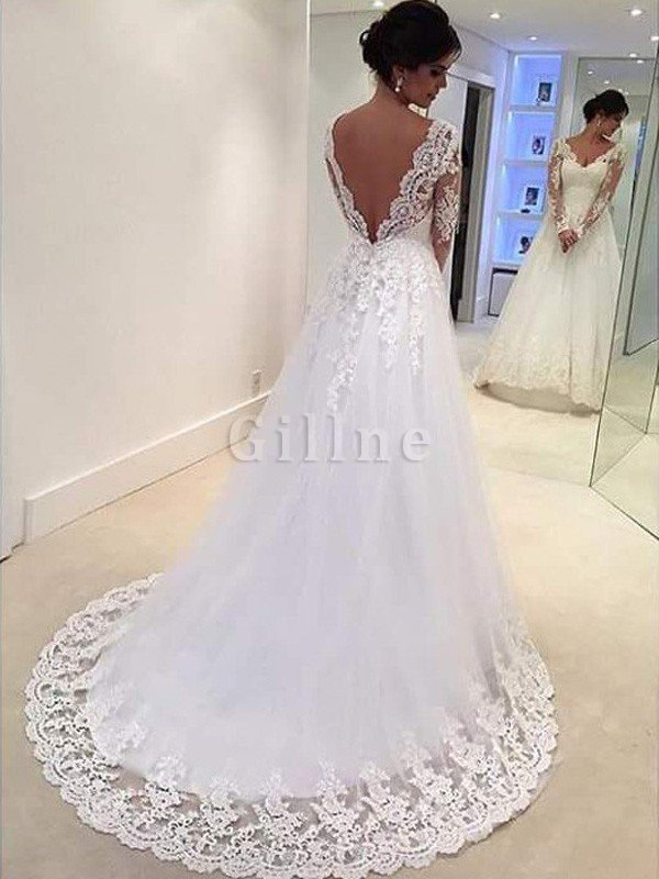 V-Neck Natural Waist Court Train Lace-up Ball Gown Wedding Dress