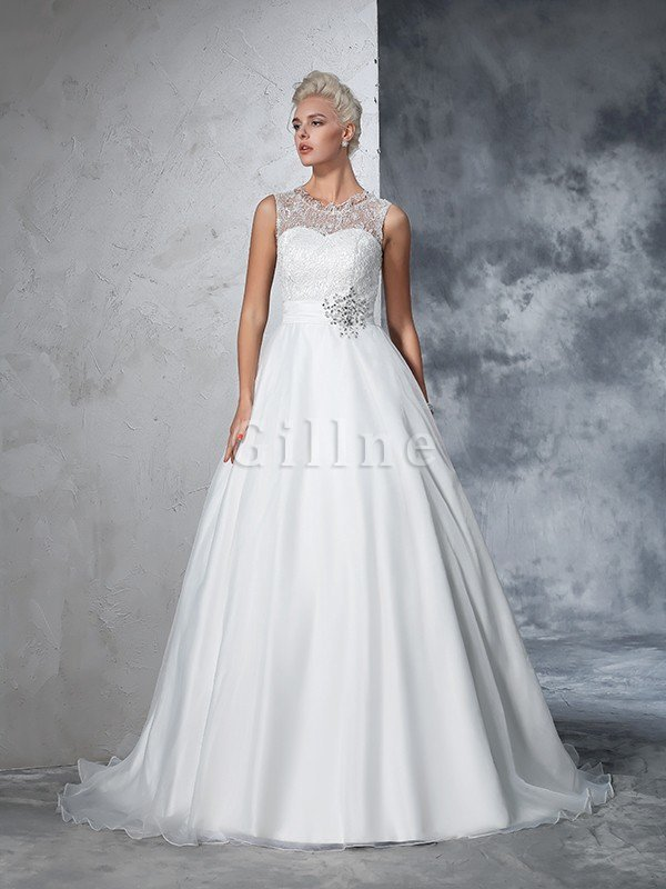 Empire Waist Ball Gown Long Sleeveless Lace Wedding Dress