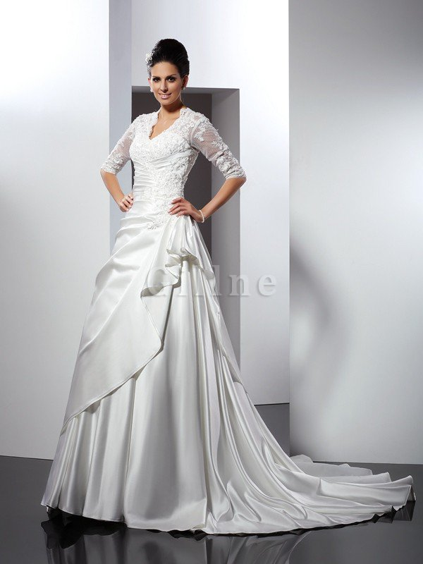 Empire Waist A-Line Sleeveless Satin Appliques Wedding Dress