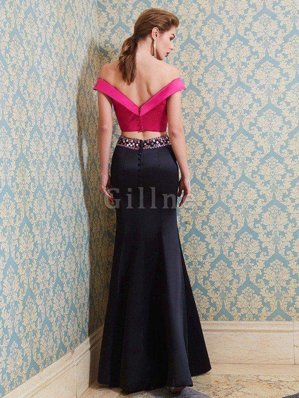 Floor Length Beading Sleeveless 2 Piece Satin Evening Dress