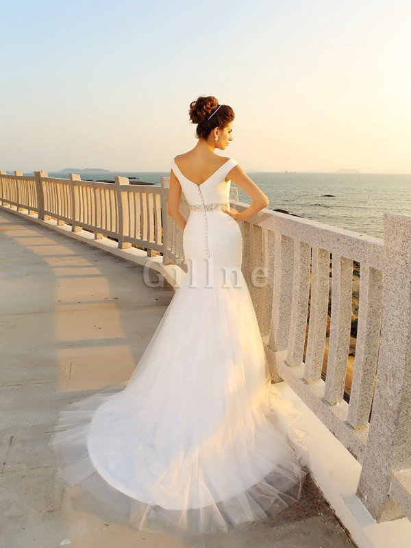 Zipper Up Draped Sleeveless Long Sheath Wedding Dress