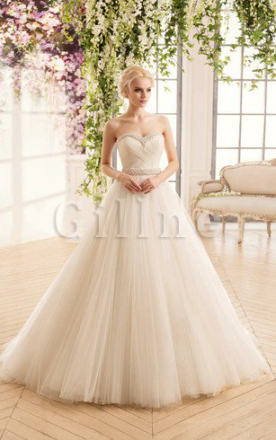 Criss-Cross Court Train Long Ball Gown Beading Wedding Dress