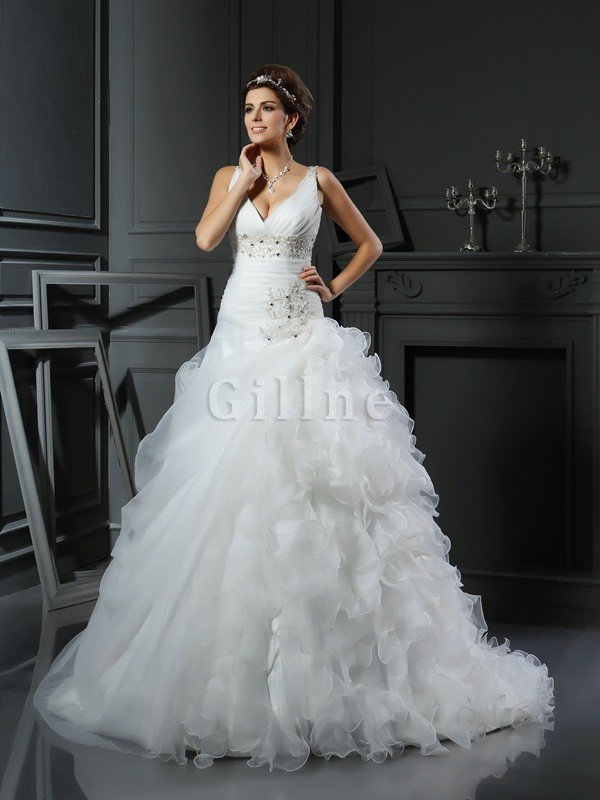 Empire Waist V-Neck Organza Ball Gown Sleeveless Wedding Dress