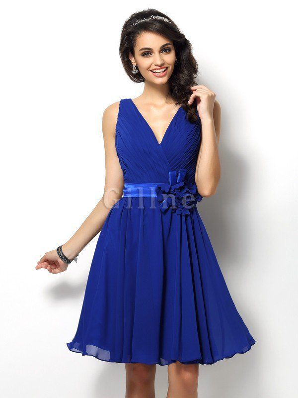 Draped A-Line V-Neck Natural Waist Bridesmaid Dress