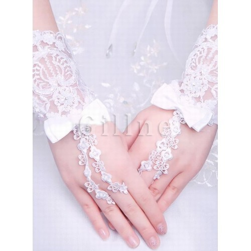 Lace With Bowknot White Chic | Modern Bridal Gloves
