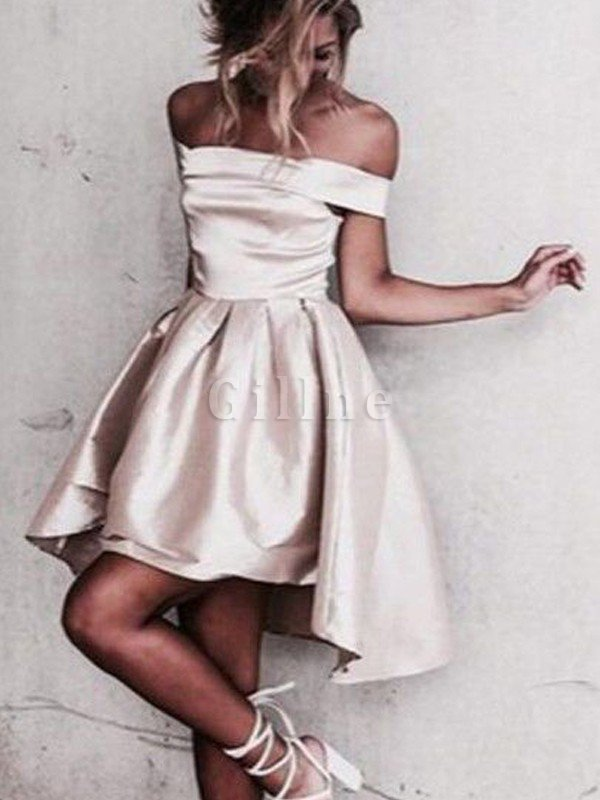 Natural Waist Short Off The Shoulder Princess Satin Party Dress
