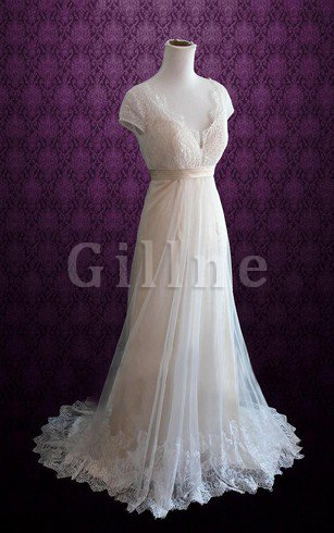 Short Sleeves Sweep Train A-Line Sashes Wedding Dress