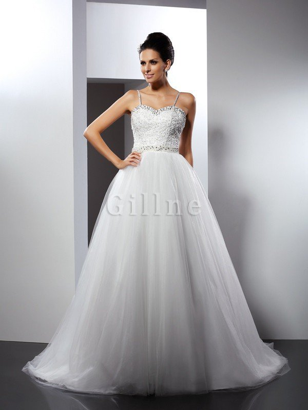 Empire Waist A-Line Spaghetti Straps Sleeveless Wedding Dress