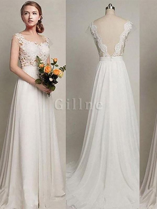 Sleeveless Chiffon A-Line Scoop Wedding Dress