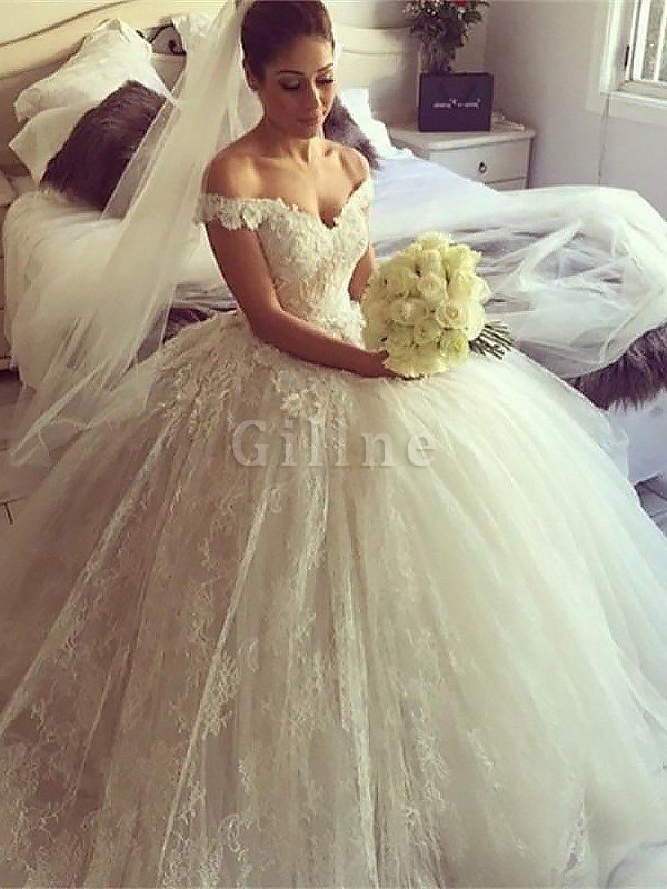 Sleeveless Natural Waist Lace Off The Shoulder Ball Gown Wedding Dress
