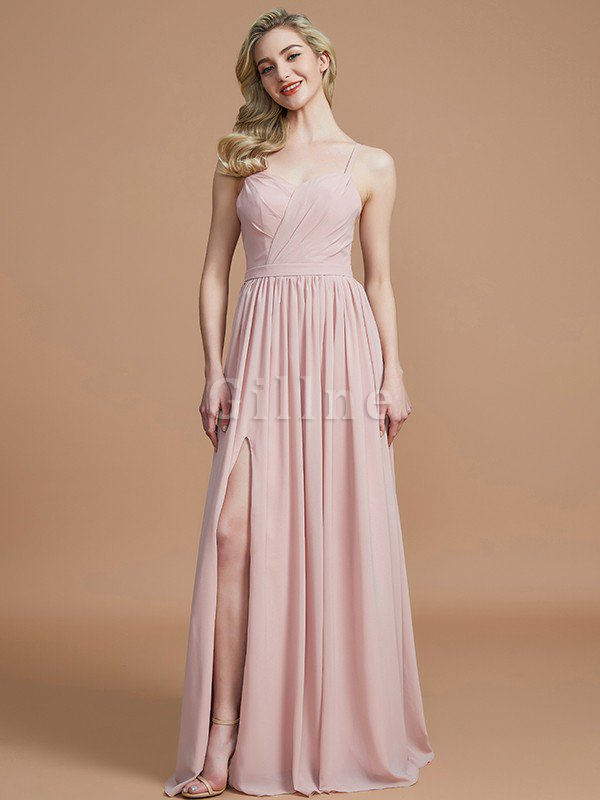Natural Waist Sleeveless Floor Length Princess Chiffon Bridesmaid Dress