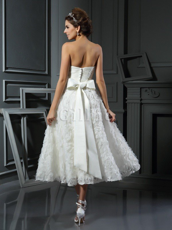 Empire Waist A-Line Accented Bow Tea Length Wedding Dress