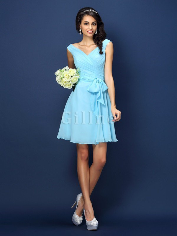 Zipper Up A-Line V-Neck Short Bridesmaid Dress