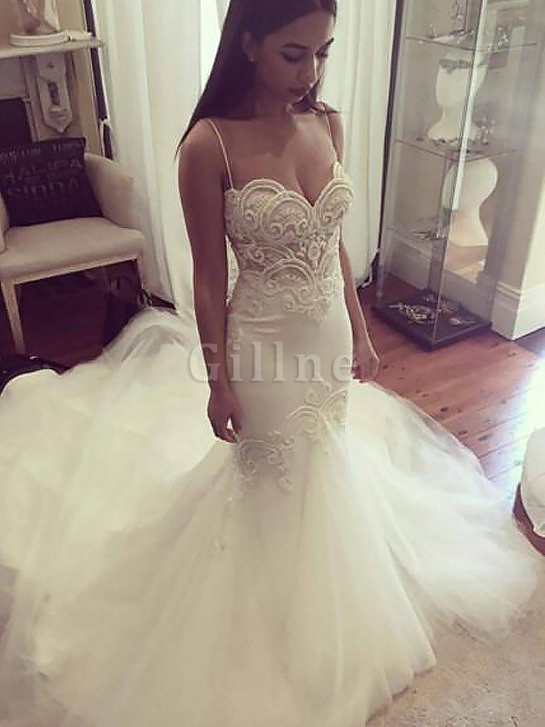 Natural Waist Sleeveless Mermaid Spaghetti Straps Chapel Train Wedding Dress