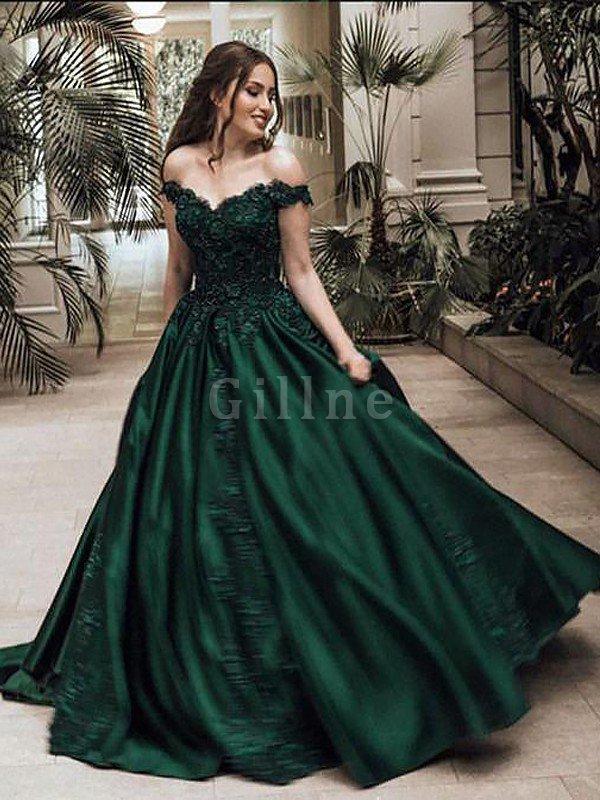 Lace Sleeveless Ball Gown Natural Waist Satin Evening Dress - Gillne.com