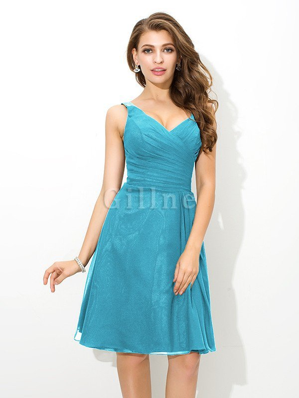 Chiffon Princess Sleeveless Natural Waist Draped Bridesmaid Dress