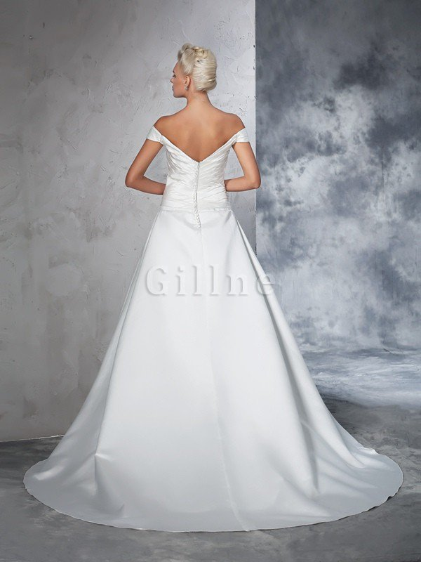 Long Taffeta Ball Gown Natural Waist Ruched Wedding Dress