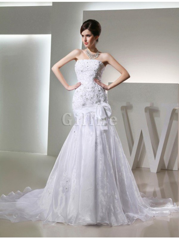 Mermaid Long Beading Strapless Appliques Wedding Dress