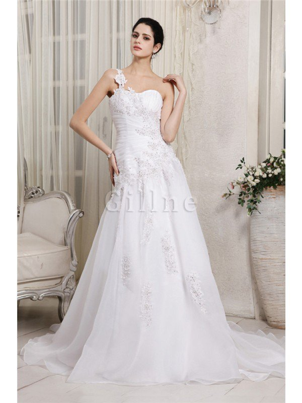 One Shoulder Chapel Train Princess Organza Empire Waist Wedding Dress