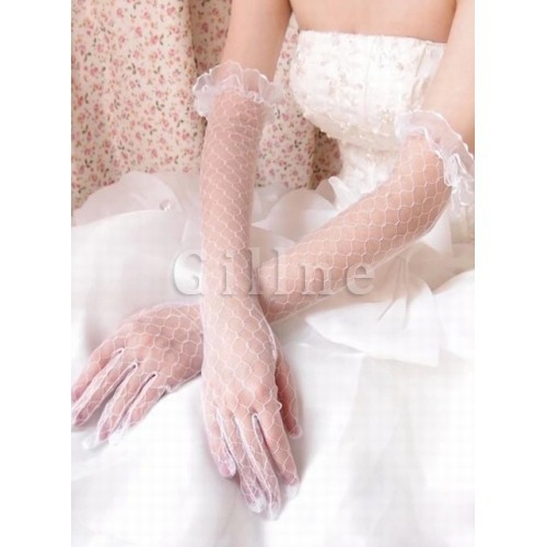 Tulle Elegant White Bridal Gloves