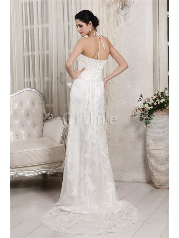 Appliques Zipper Up Lace Sweep Train Empire Waist Wedding Dress
