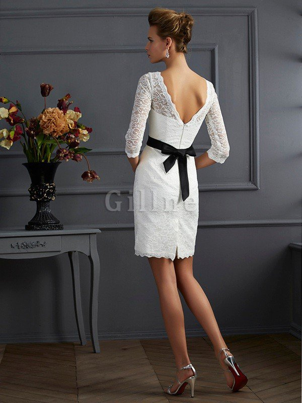 Zipper Up Short Natural Waist 3/4 Length Sleeves Scoop Mother Of The Bride Dress