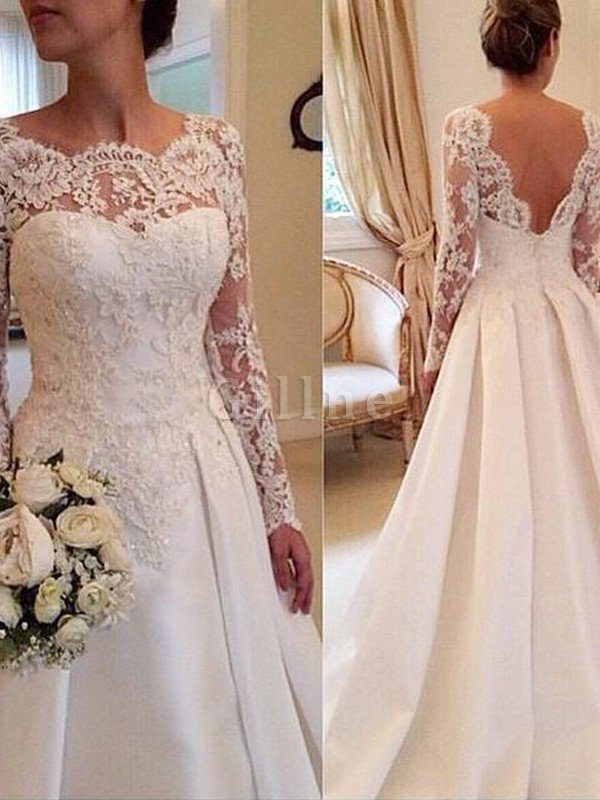 Ball Gown Natural Waist Long Sleeves Court Train Lace Wedding Dress