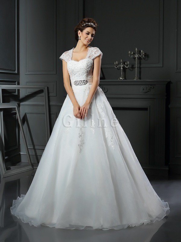 Appliques Zipper Up Long Ball Gown Square Wedding Dress