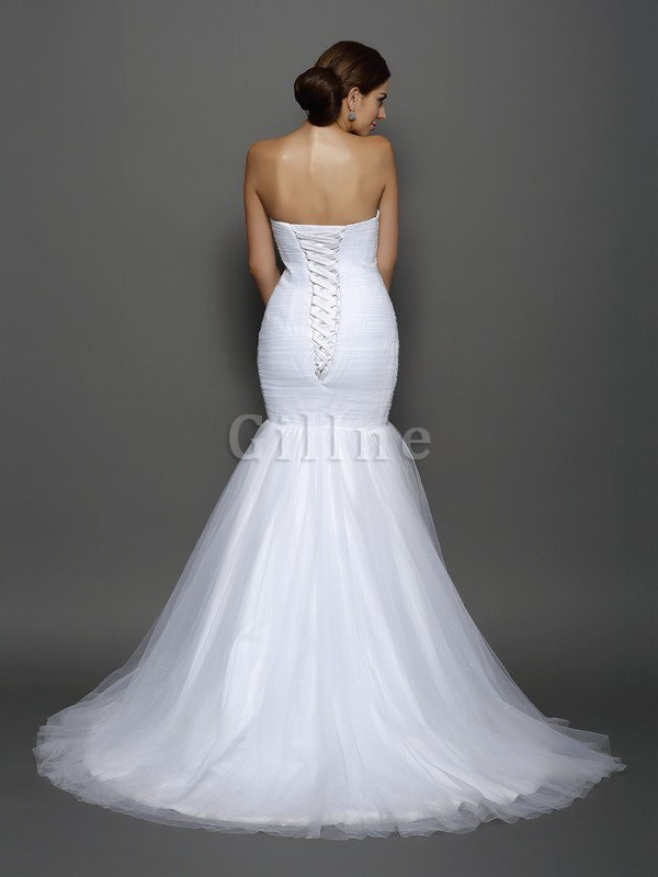 Lace-up Sleeveless Natural Waist Draped Wedding Dress