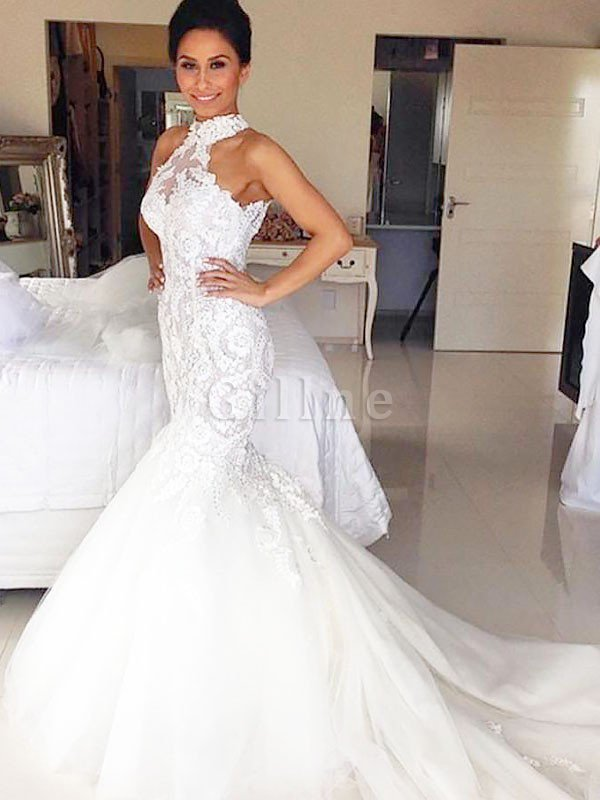 Tulle Court Train Mermaid Halter Natural Waist Wedding Dress
